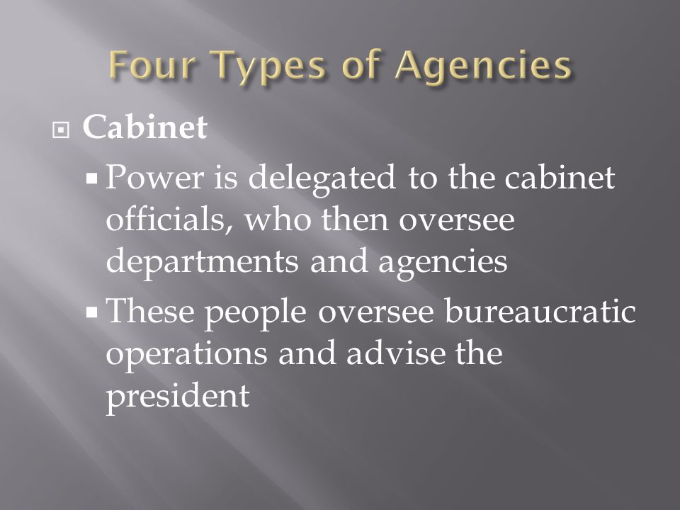 Four Types of Agencies Cabinet