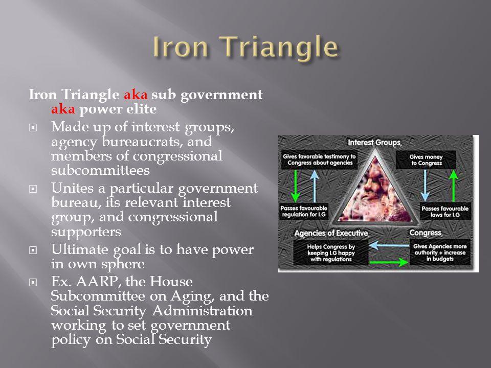 Iron Triangle Iron Triangle aka sub government aka power elite