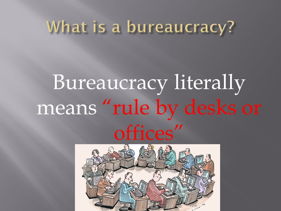 Bureaucracy literally means rule by desks or offices