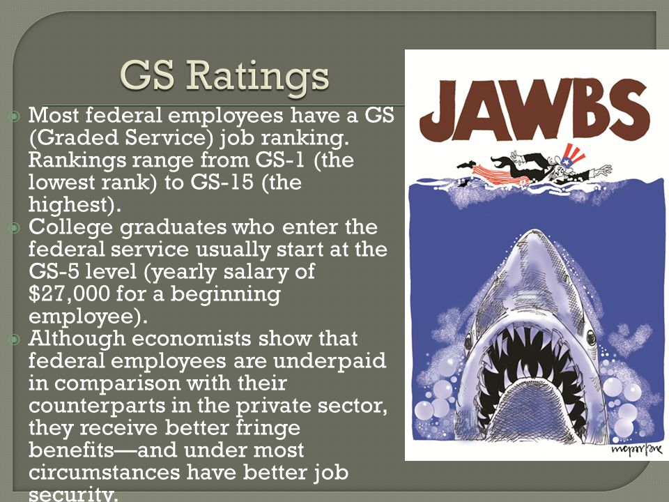 GS Ratings Most federal employees have a GS (Graded Service) job ranking. Rankings range from GS-1 (the lowest rank) to GS-15 (the highest).