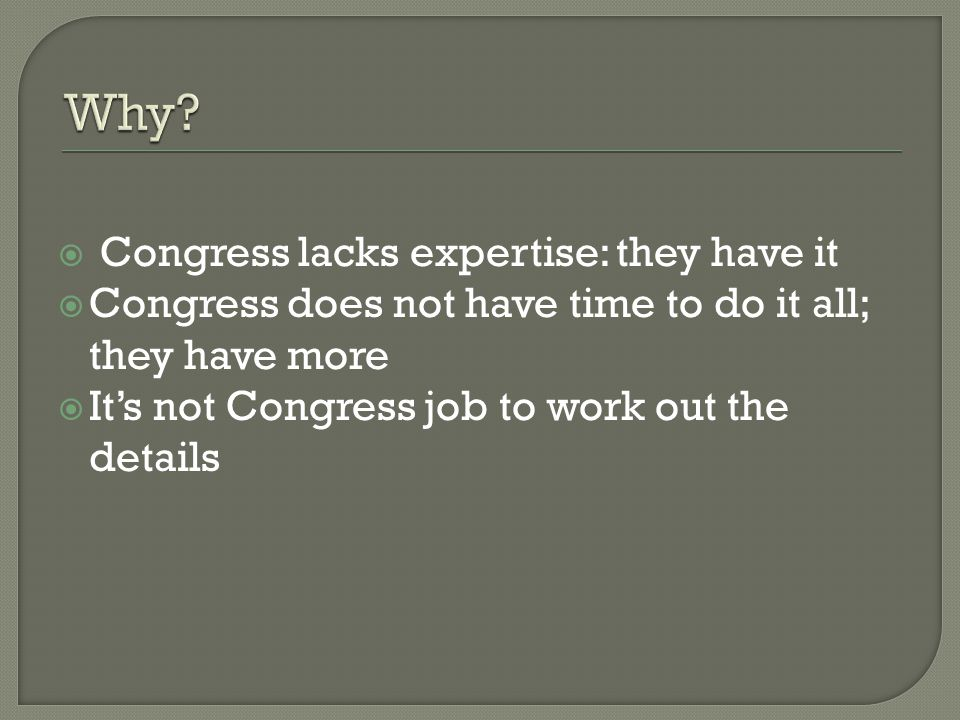 Why Congress lacks expertise: they have it