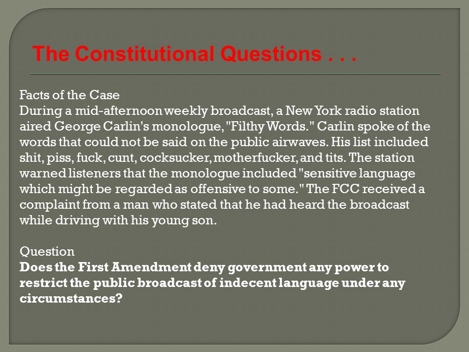The Constitutional Questions . . .