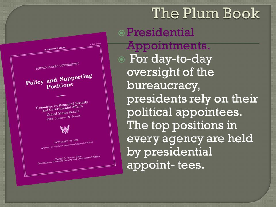 The Plum Book Presidential Appointments.