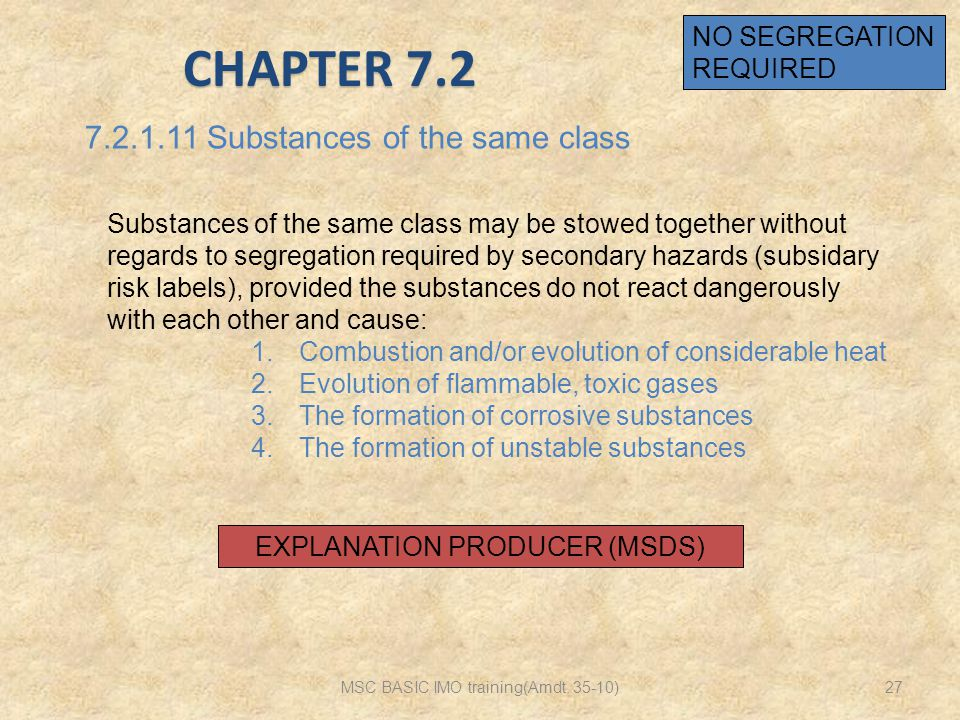 CHAPTER 7.2 7.2.1.11 Substances of the same class