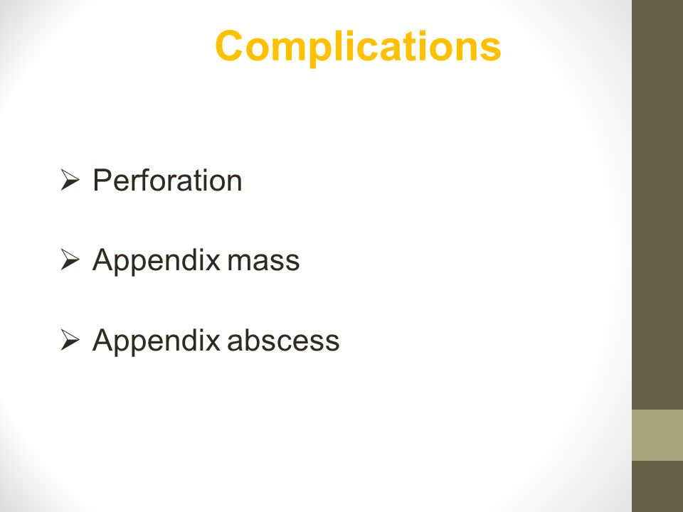 Complications Perforation Appendix mass Appendix abscess