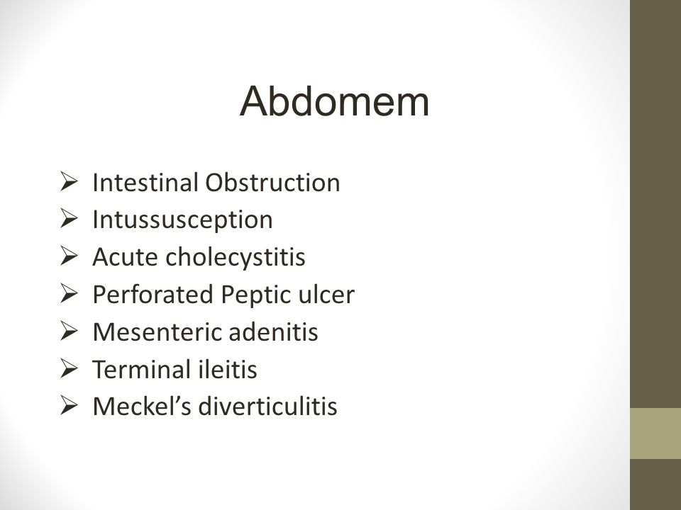 Abdomem Intestinal Obstruction Intussusception Acute cholecystitis
