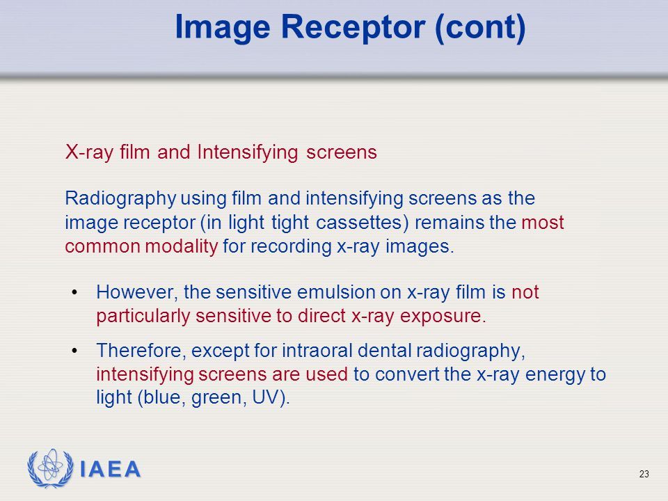 Image Receptor (cont) X-ray film and Intensifying screens