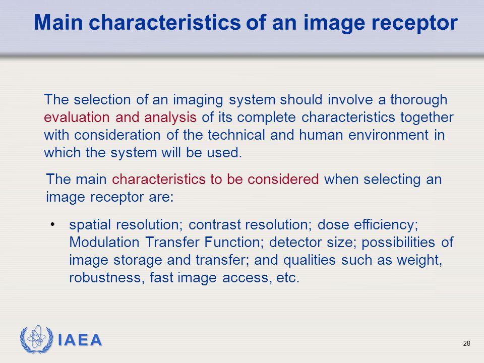 Main characteristics of an image receptor