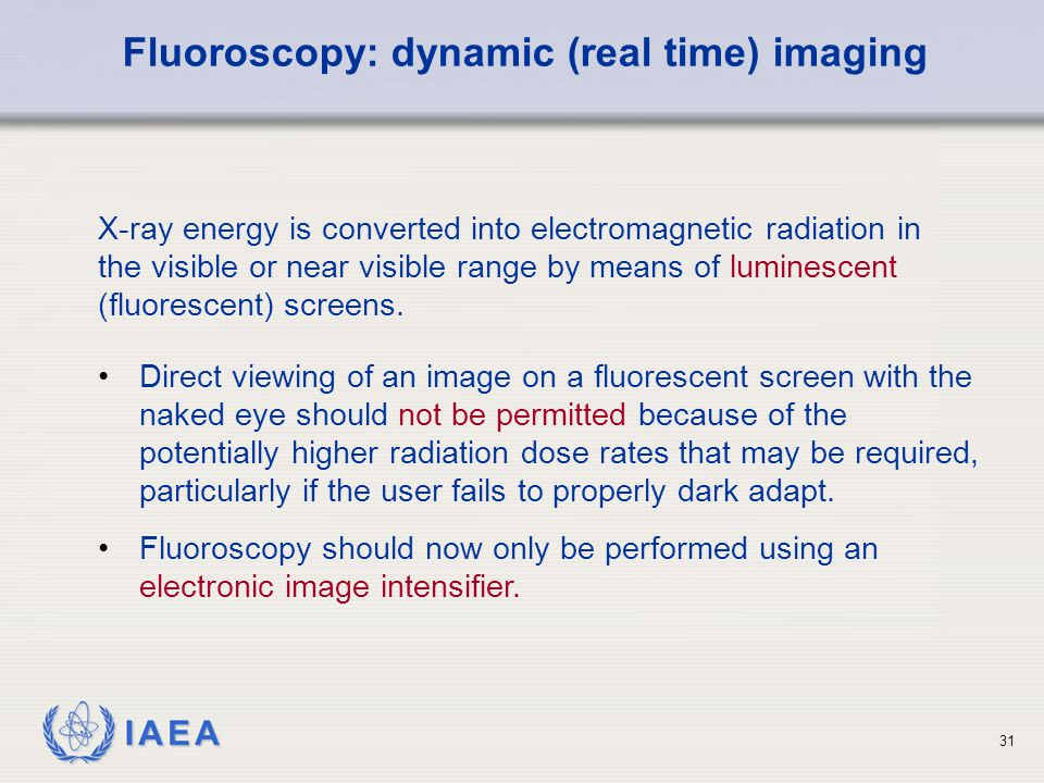 Fluoroscopy: dynamic (real time) imaging