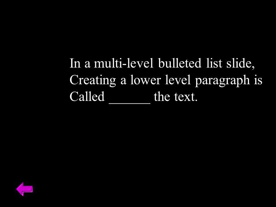In a multi-level bulleted list slide,