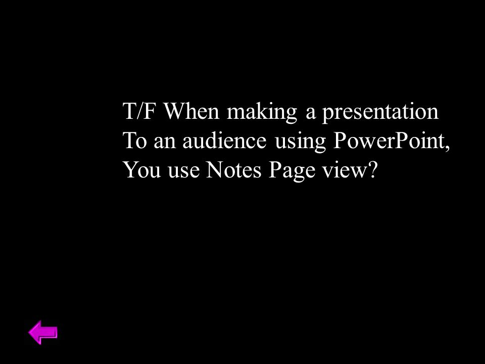 T/F When making a presentation