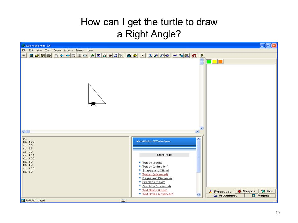 How can I get the turtle to draw a Right Angle