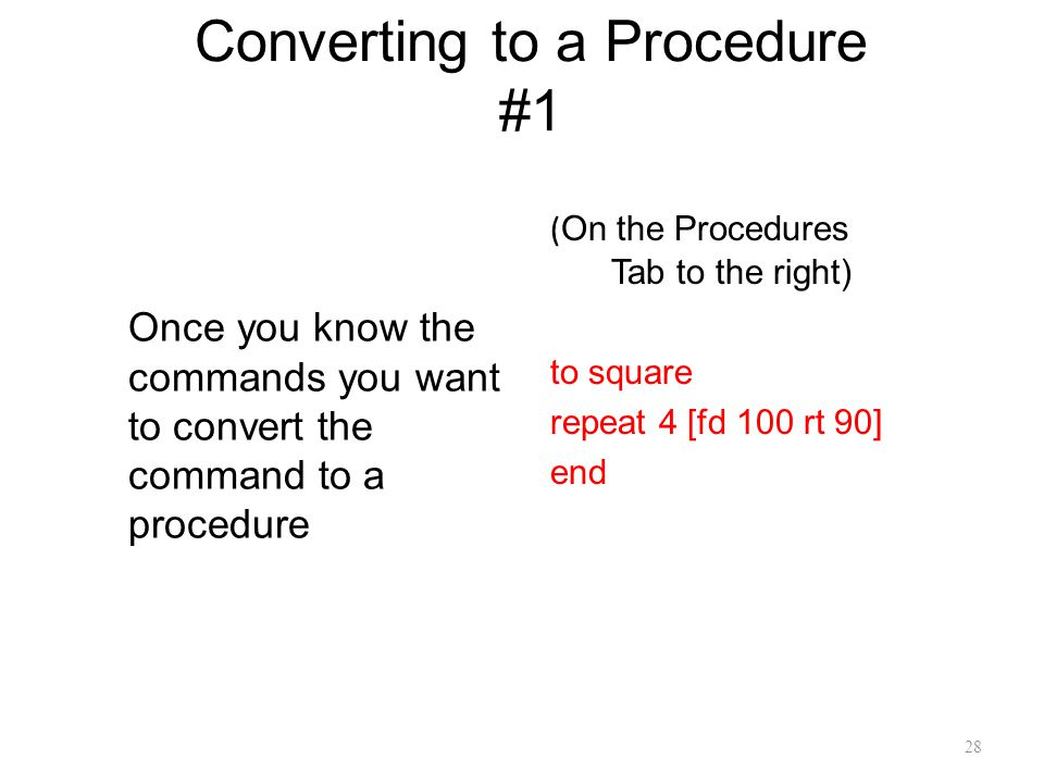 Converting to a Procedure #1