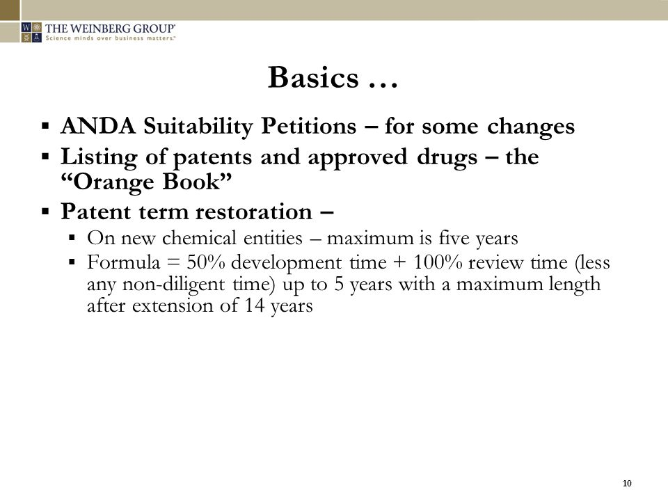 Basics … ANDA Suitability Petitions – for some changes