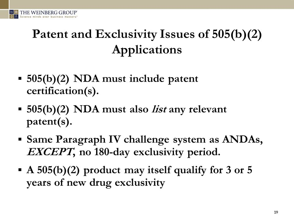 Patent and Exclusivity Issues of 505(b)(2) Applications