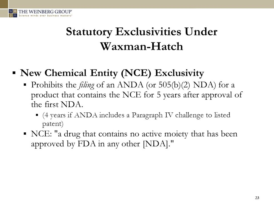 Statutory Exclusivities Under Waxman-Hatch