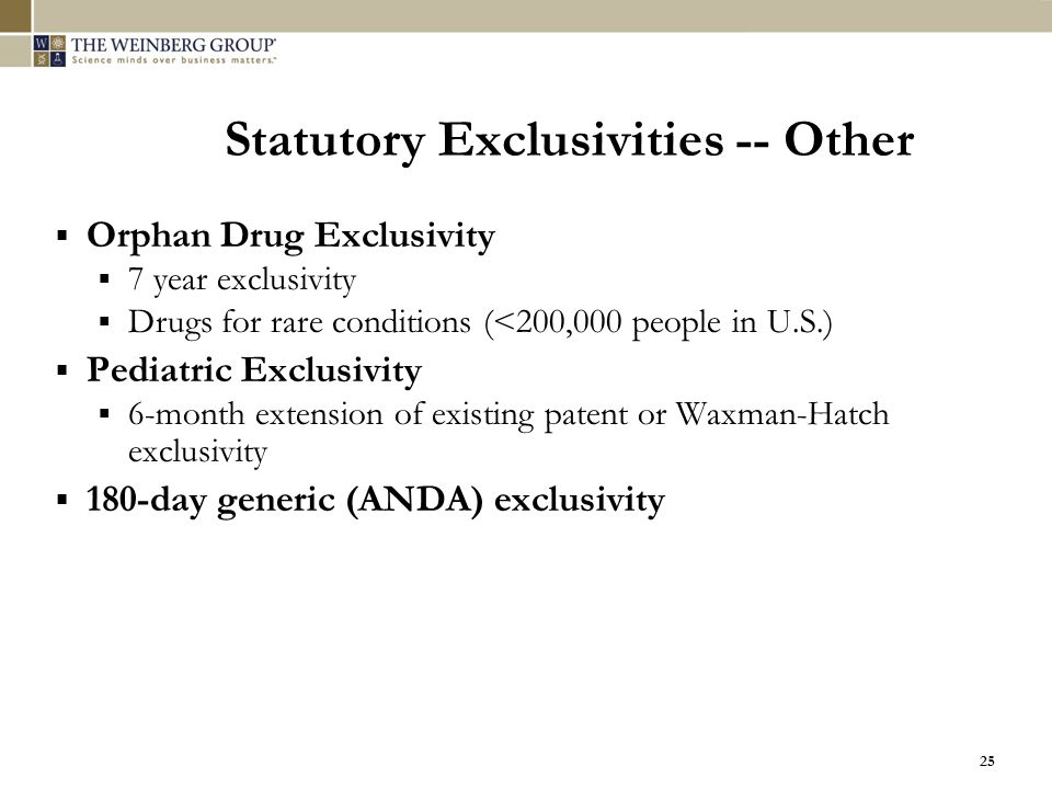 Statutory Exclusivities -- Other