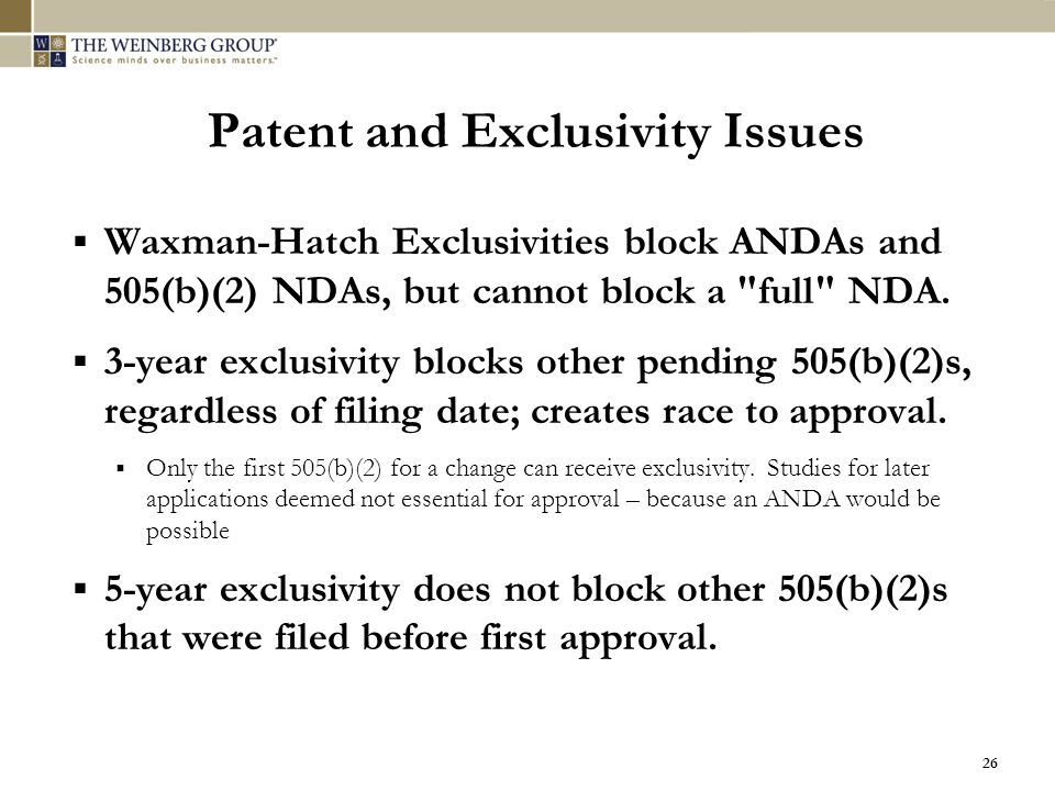 Patent and Exclusivity Issues