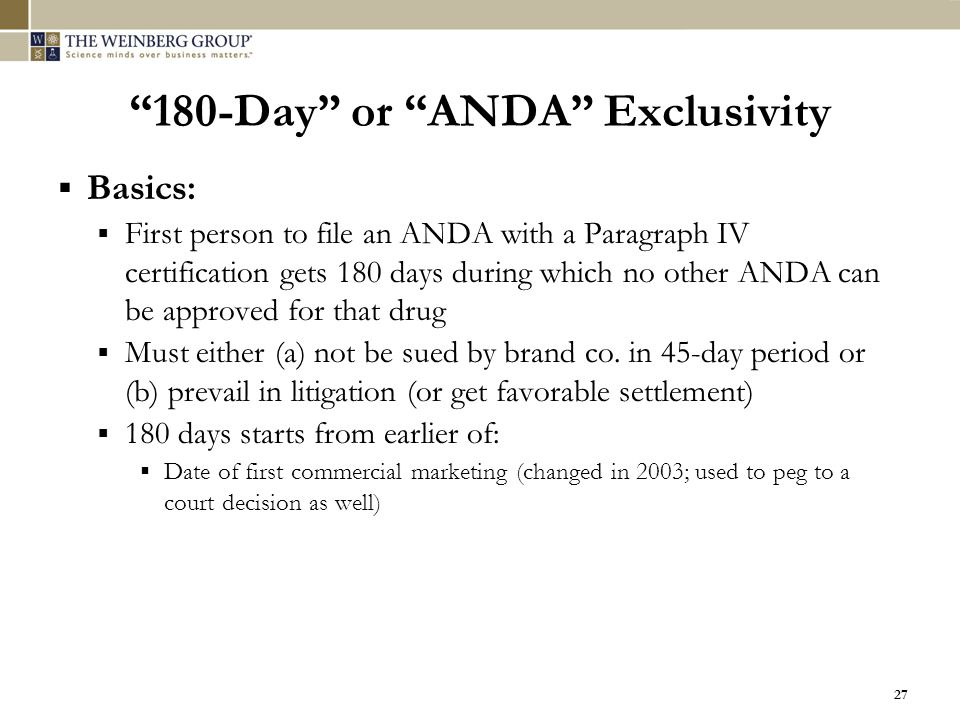 180-Day or ANDA Exclusivity