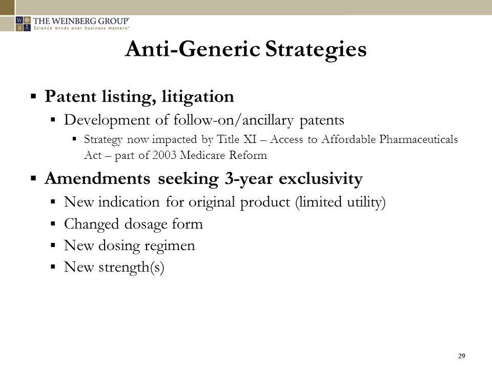Anti-Generic Strategies