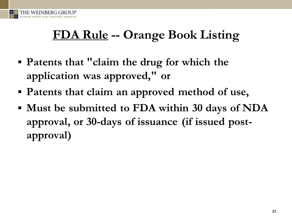 FDA Rule -- Orange Book Listing