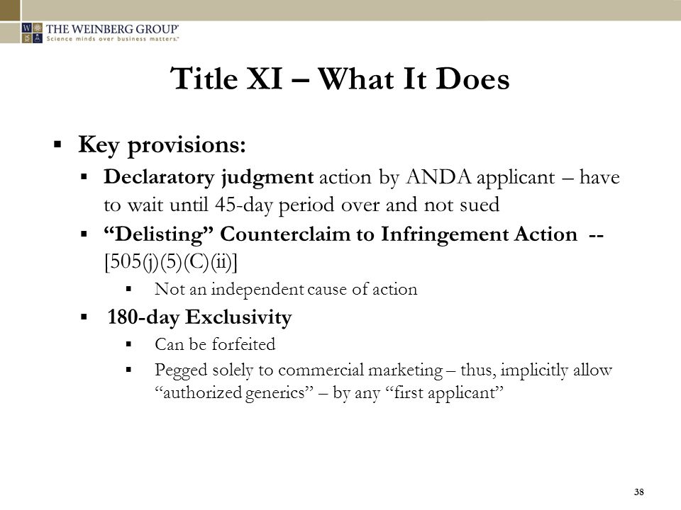 Title XI – What It Does Key provisions: