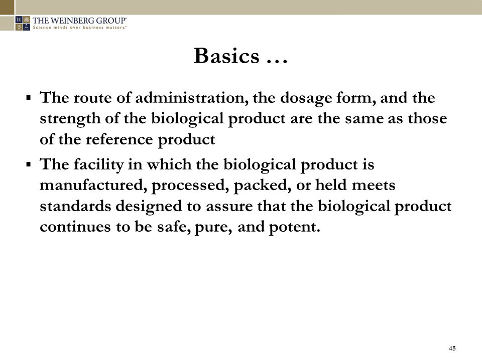 Basics … The route of administration, the dosage form, and the strength of the biological product are the same as those of the reference product.