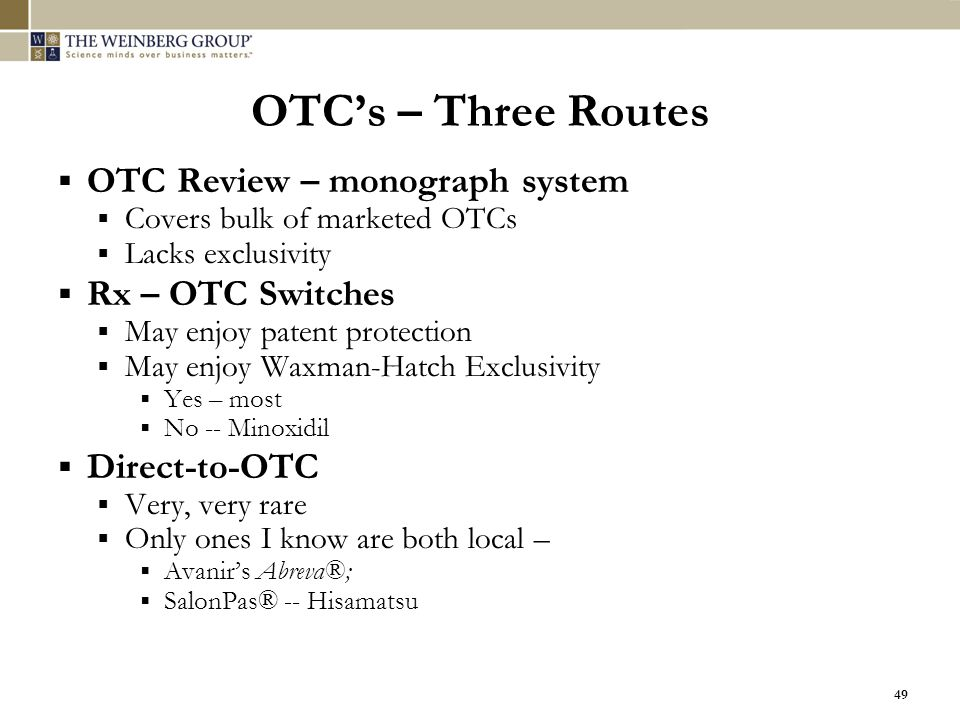 OTC's – Three Routes OTC Review – monograph system Rx – OTC Switches