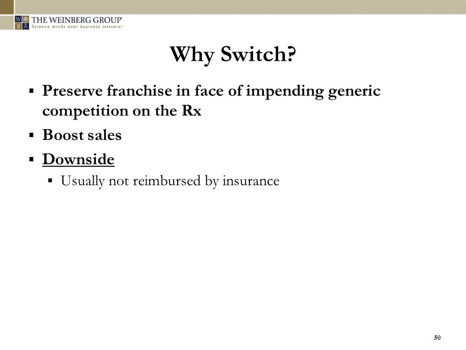 Why Switch Preserve franchise in face of impending generic competition on the Rx. Boost sales. Downside.