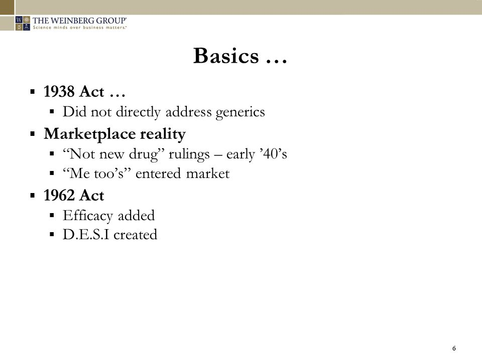 Basics … 1938 Act … Marketplace reality 1962 Act