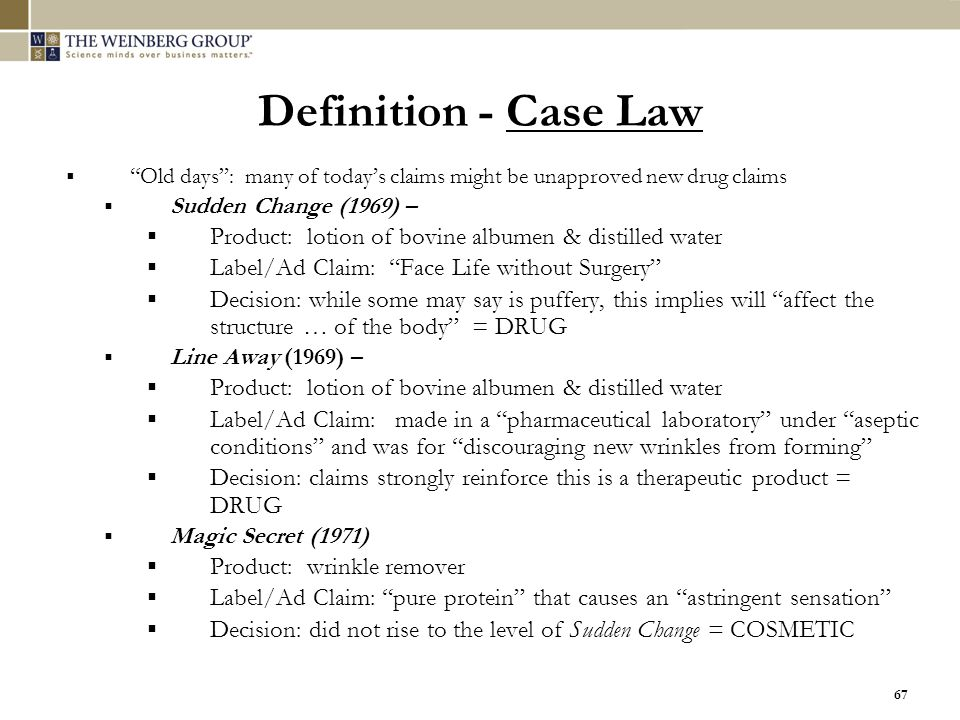 Definition - Case Law Old days : many of today's claims might be unapproved new drug claims. Sudden Change (1969) –
