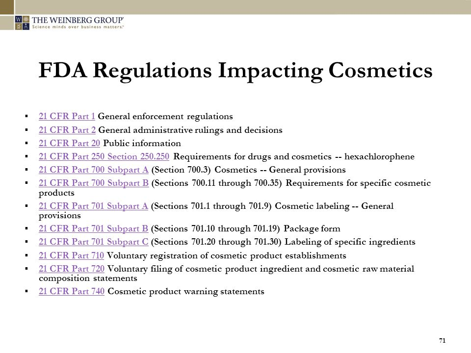 FDA Regulations Impacting Cosmetics