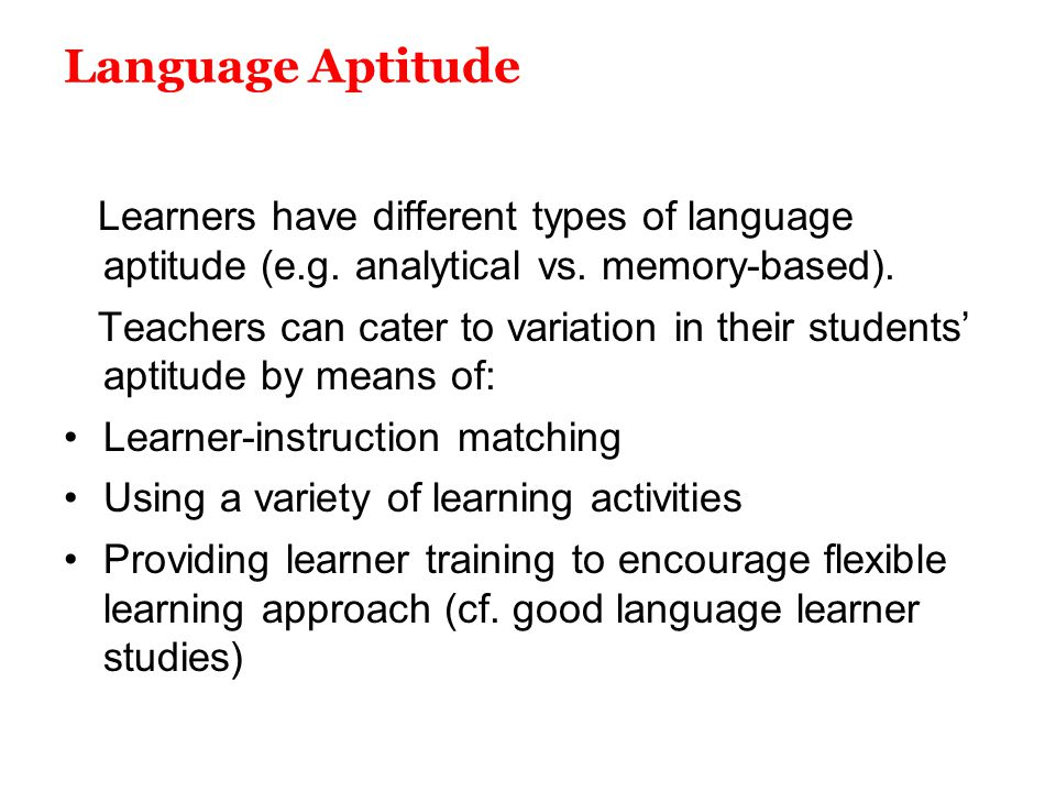 (PDF) Aptitude for learning a foreign language - ResearchGate
