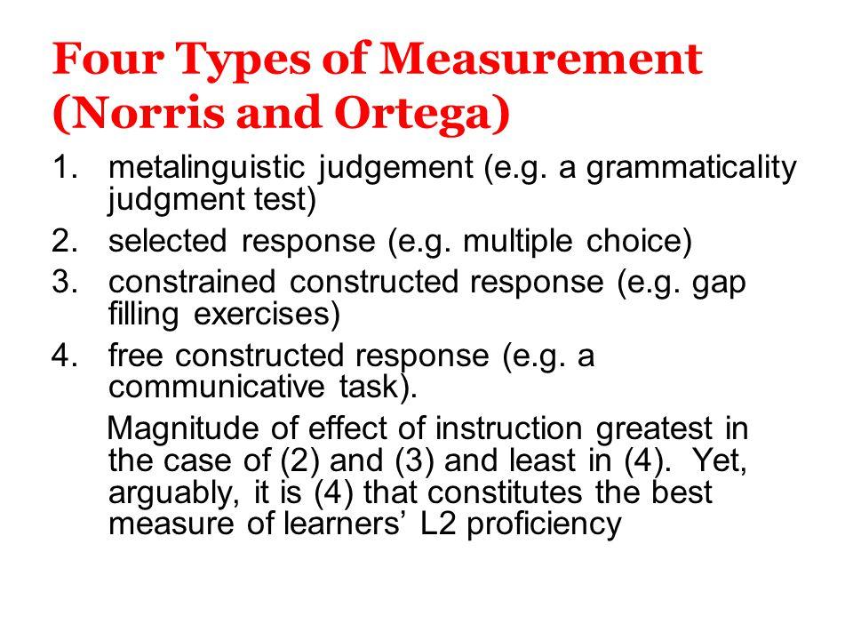 Four Types of Measurement (Norris and Ortega)