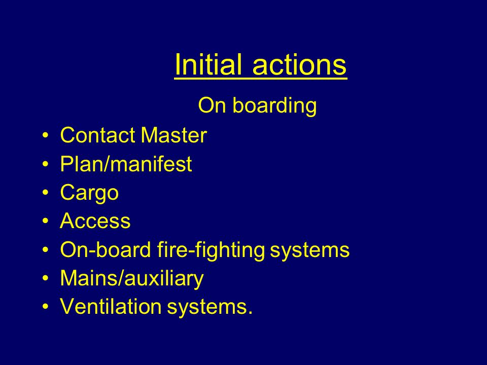 Initial actions On boarding Contact Master Plan/manifest Cargo Access