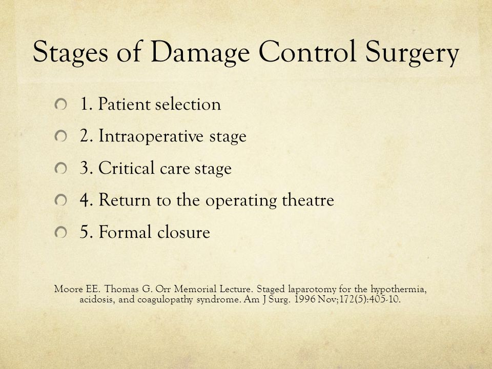 Stages of Damage Control Surgery