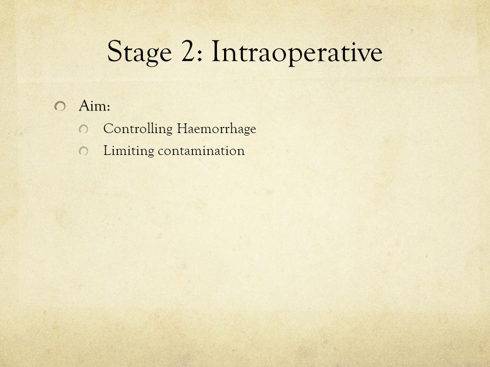 Stage 2: Intraoperative