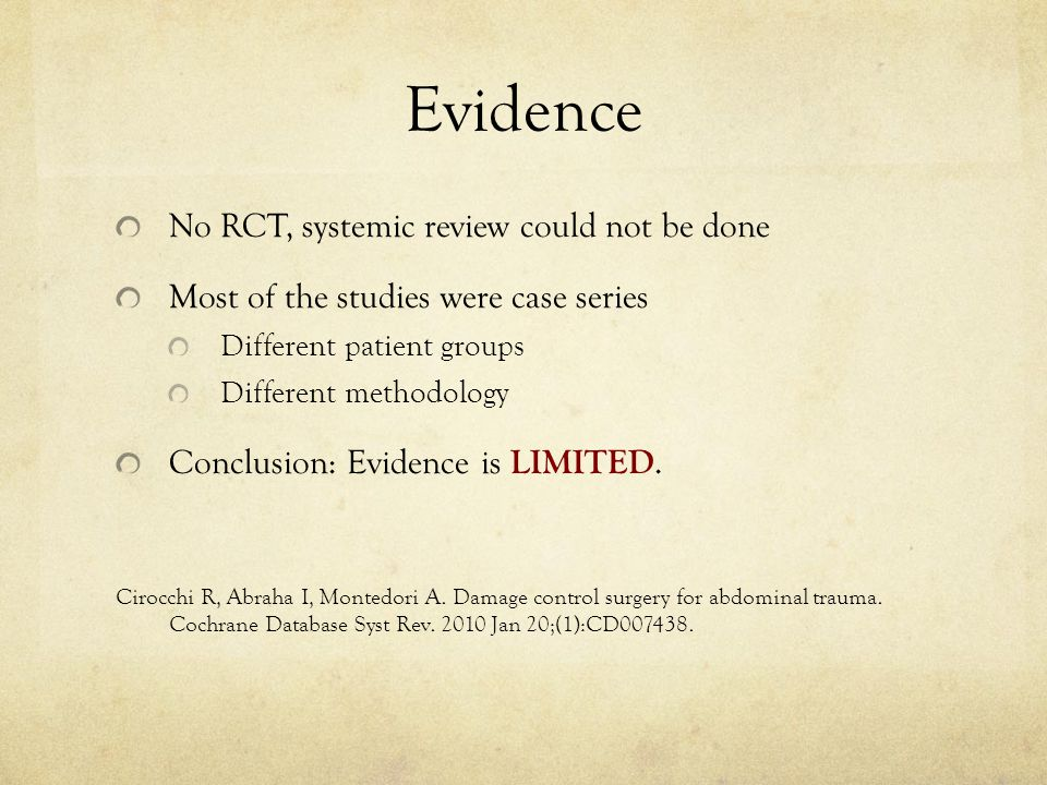 Evidence No RCT, systemic review could not be done