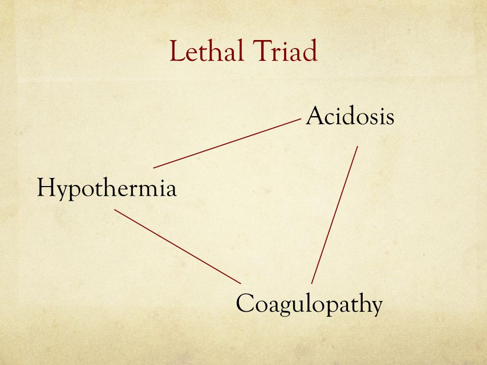Lethal Triad Acidosis Hypothermia Coagulopathy