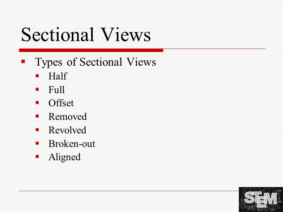Sectional Views Types of Sectional Views Half Full Offset Removed