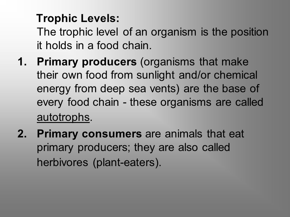 Trophic Levels: The trophic level of an organism is the position it holds in a food chain.