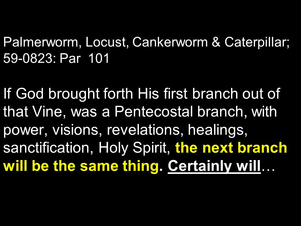 Palmerworm, Locust, Cankerworm & Caterpillar; 59-0823: Par 101 If God brought forth His first branch out of that Vine, was a Pentecostal branch, with power, visions, revelations, healings, sanctification, Holy Spirit, the next branch will be the same thing.