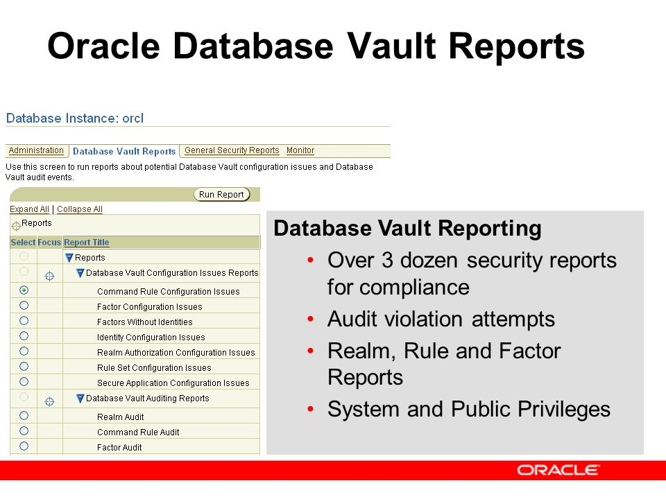 Oracle Database Vault Reports