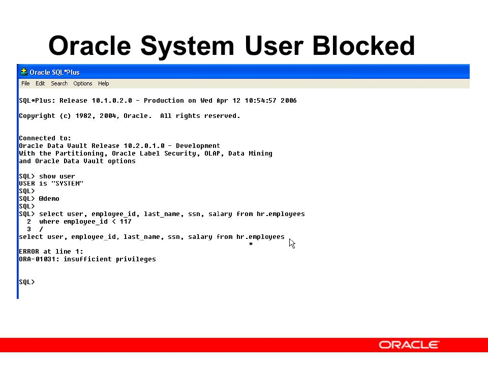 Oracle System User Blocked