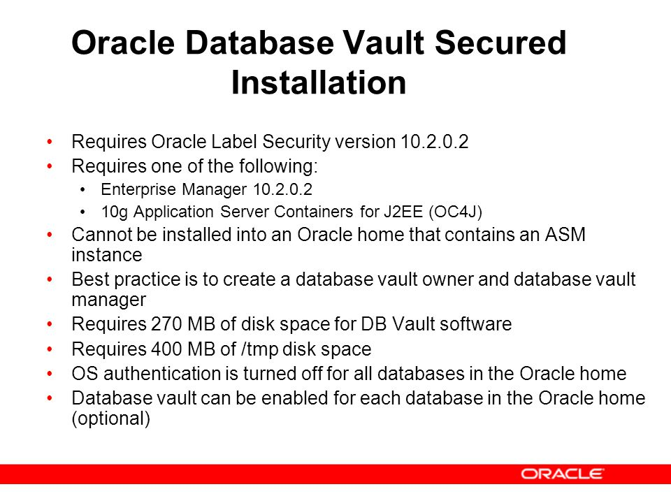 Oracle Database Vault Secured Installation