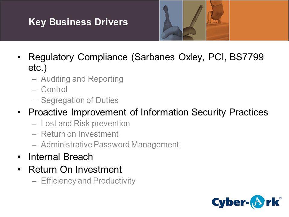 Regulatory Compliance (Sarbanes Oxley, PCI, BS7799 etc.)