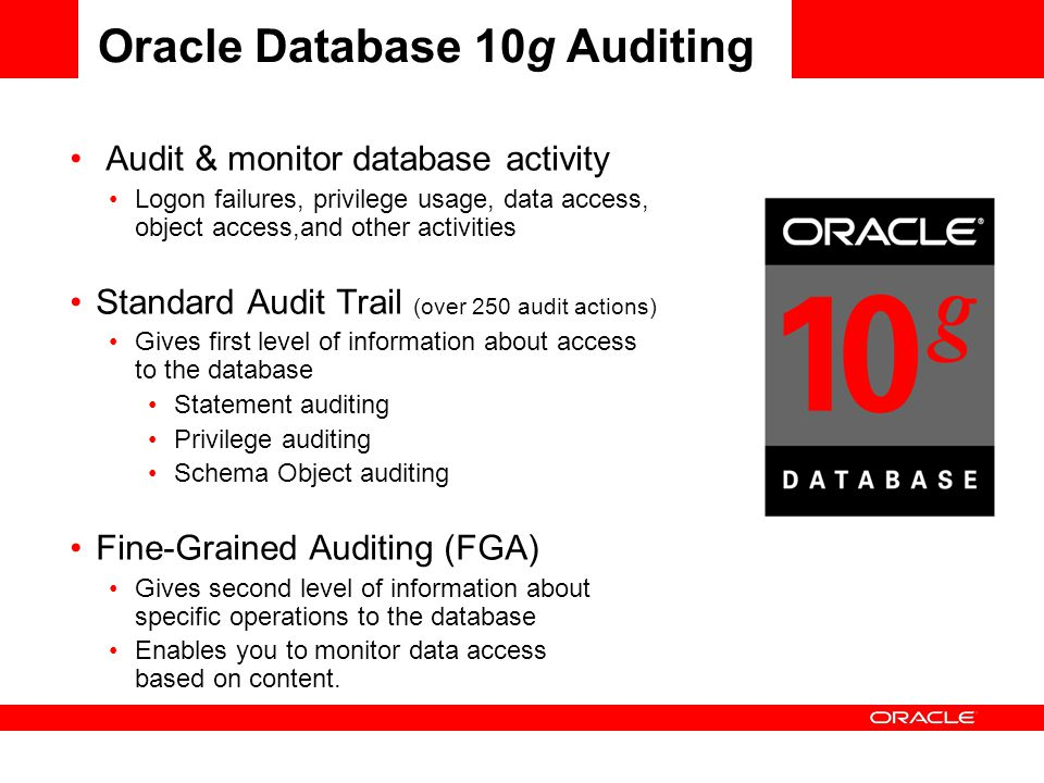 Oracle Database 10g Auditing