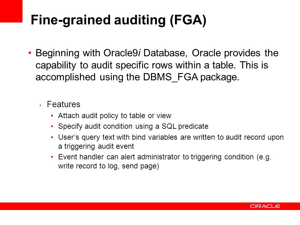 Fine-grained auditing (FGA)