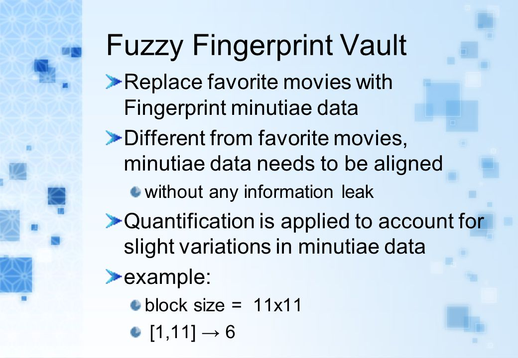 Fuzzy Fingerprint Vault