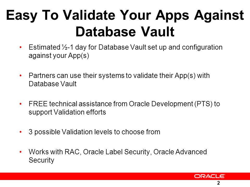 Easy To Validate Your Apps Against Database Vault